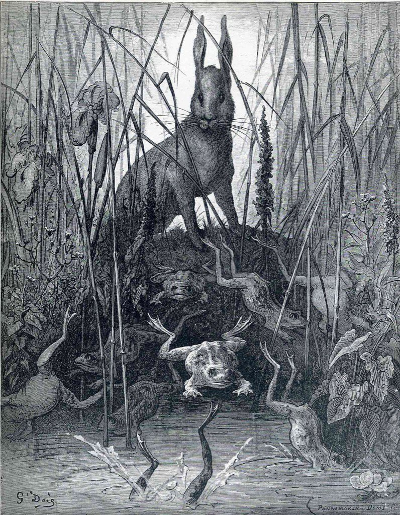 The Hare and the Frogs (circa 1868). By French artist/illustrator, Gustave Doré (1832-1883). #illustration <br>http://pic.twitter.com/0n1NmkpTCK
