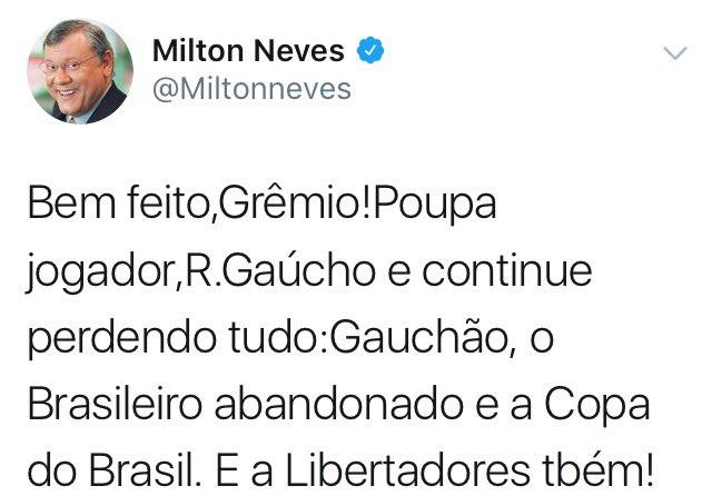 Milton Neves comemora eliminação do Grêm...