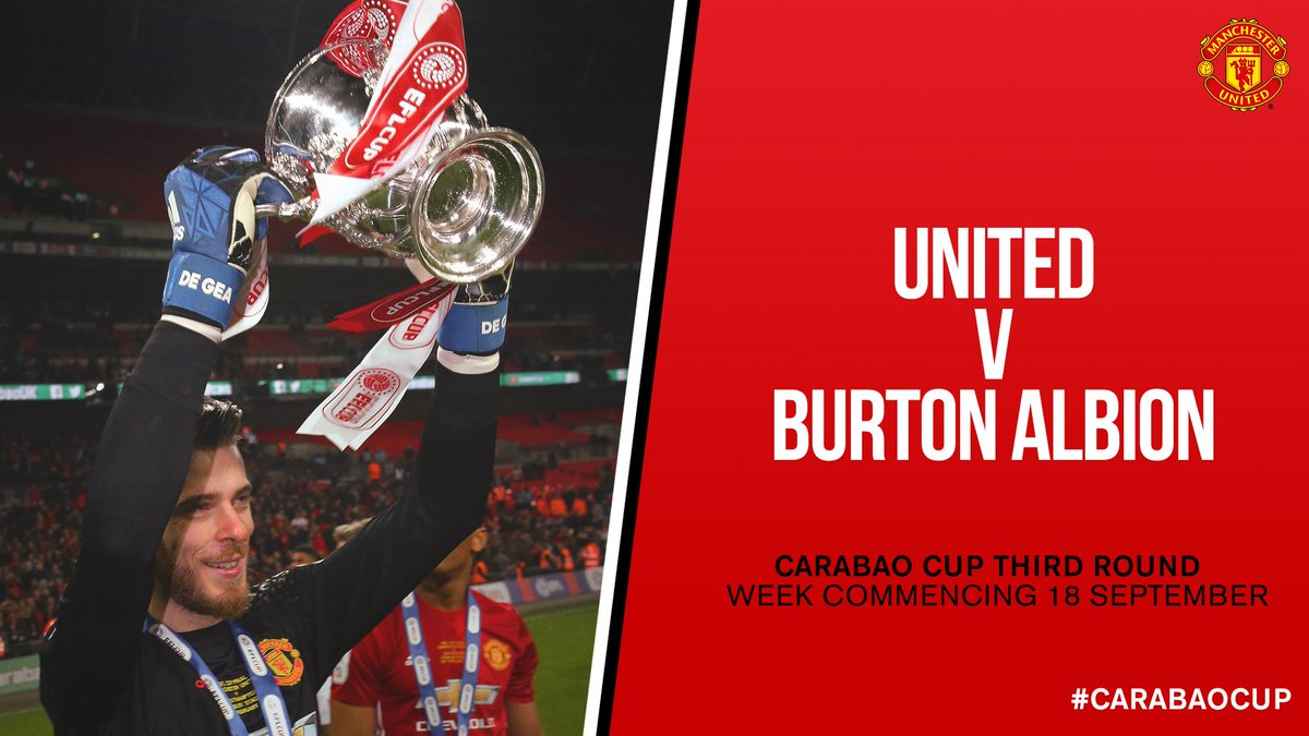 #MUFC have been drawn at home to Burton Albion in the @EFLCup third round. The tie will be played in the week commencing 18 September.