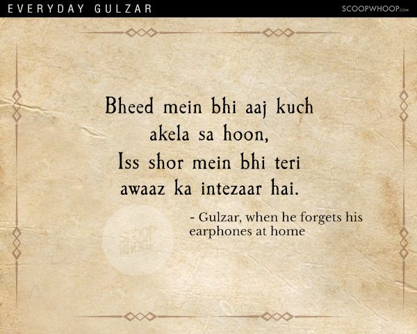 Everyday life in the poetic andaaz by #Gulzar. #poetry https://t.co/5z...