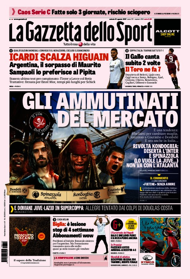 La Gazzetta depicts Kondogbia, Coutinho, Spinazzola and Dembele as Pirates of the Caribbean  http://www. football-italia.net/todayspapers/1 08031?mobile=off &nbsp; …  #LFC #FCIM #BVB #PotC5 <br>http://pic.twitter.com/Yn1VBTfa8A