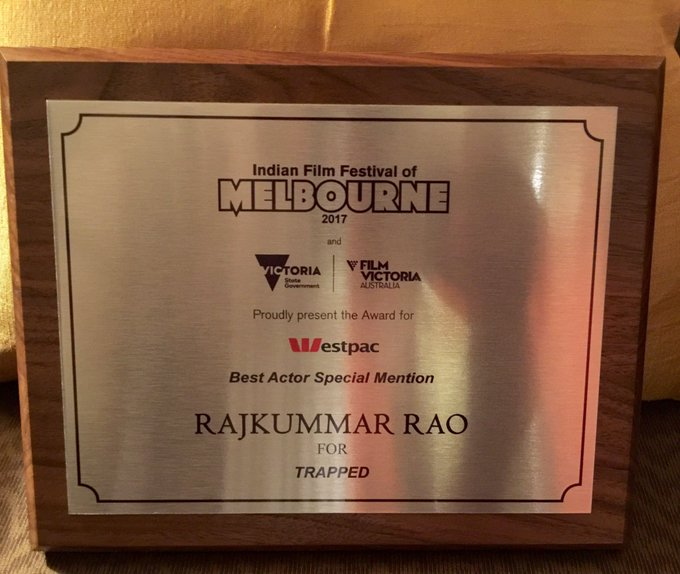 Thank you Indian Film Festival of Melbourne 4 this recognition. #BestActorSpecialJury. This one is 4 the whole team. #VikramMotwane #Trapped https://t.co/g3g6XInppe