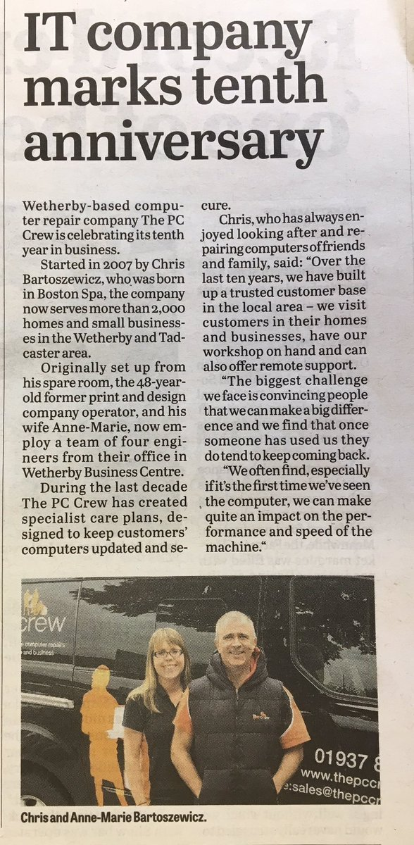Did you see the @pccrewweth in this week&#39;s @Wetherby_News #Wetherby #IT #10th #Anniversary<br>http://pic.twitter.com/GppqJfqBXa
