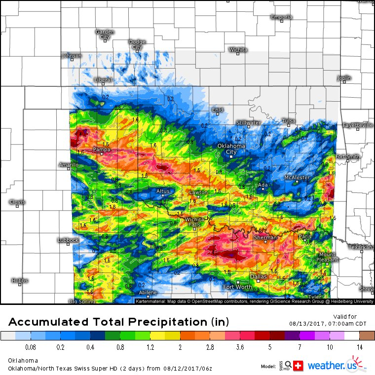 Weather home of free ecmwfeuro model on twitter the swiss n txwx falling in a short time httpsweathermodel chartsoklatexoklahomaacc total precipitation20170813 1200zml picitter8voiridec5 publicscrutiny Choice Image