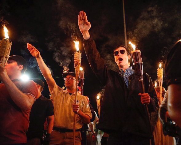 Unite The Right torchlit march towards Lee Park through Charlottesville, VA #1