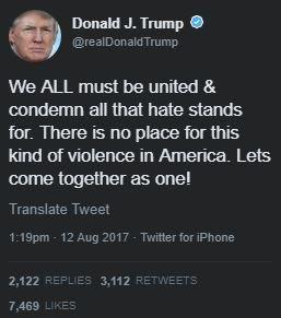 急に大統領らしいというか、いつもの誰かを名指しで批判するスタイルと異なる呟き。白人至上主義者を直接的に批判できないんだな、と思ってしまう。 https://t.co/3V75sydZlp