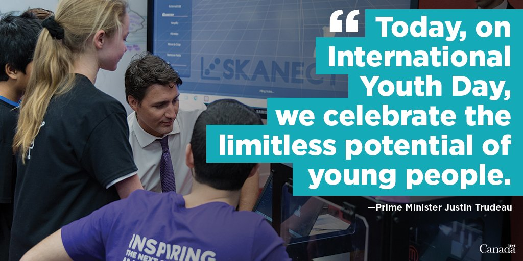 Prime Minister Justin Trudeau&#39;s statement on International #YouthDay:  http:// ow.ly/FyAC30emjEV  &nbsp;   #IYD2017<br>http://pic.twitter.com/qFU8FlHMNN
