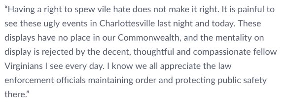 My statement on the events in Charlottesville https://t.co/rdw2kxwLmq https://t.co/lR9KF7FtWe