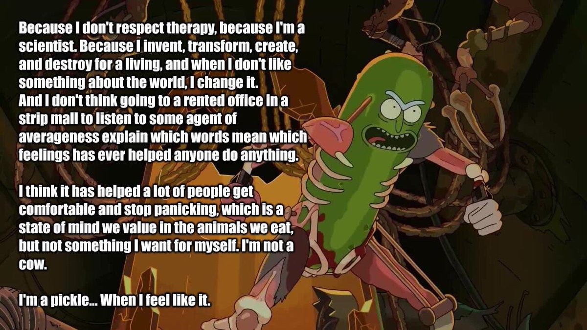 "Best Rick And Morty Quotes Rick & Morty Quotes On Twitter ""you Tell Em Pickle Rick… """