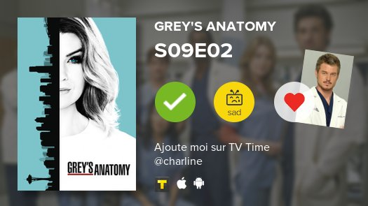 I&#39;ve just watched episode S09E02 of Grey&#39;s Anatomy! #GreysAnatomy   https:// tvtime.onelink.me/3966595826?af_ dp=tvst%3A%2F%2Fshow%2F73762%2Fepisode%2F4392159%2Fdetail&amp;af_web_dp=https%3A%2F%2Fwww.tvtime.com%2Fshow%2F73762%2Fepisode%2F4392159&amp;campaign_id=73762&amp;referrer_id=3500030&amp;source=auto-tweet&amp;pid=Twitter&amp;c=auto-share &nbsp; …  #tvtime<br>http://pic.twitter.com/w1AAupd8Kw