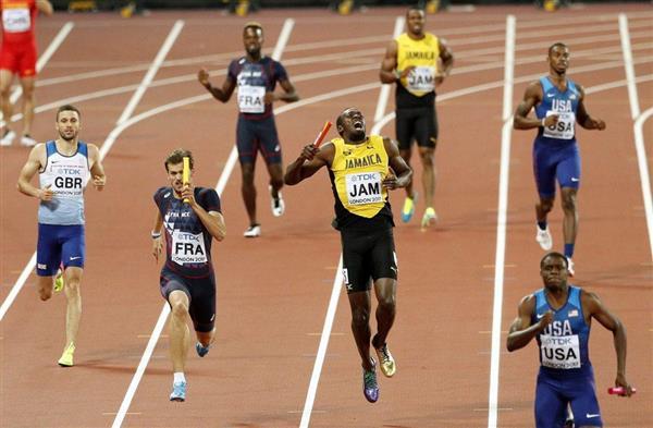 男子400メートルリレーで日本が銅メダル 世界陸上初 ボルトは現役最後のレースでゴールできず san…