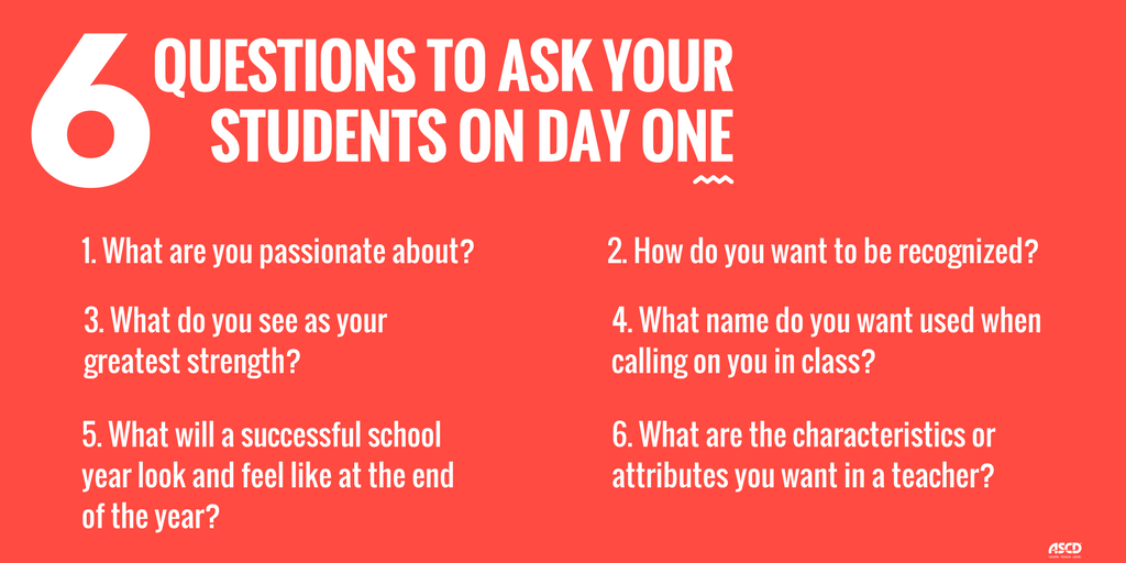 6 Questions to Ask Your Students on Day One. - @hpitler https://t.co/fi1a2Ieari https://t.co/t6NLslptD7