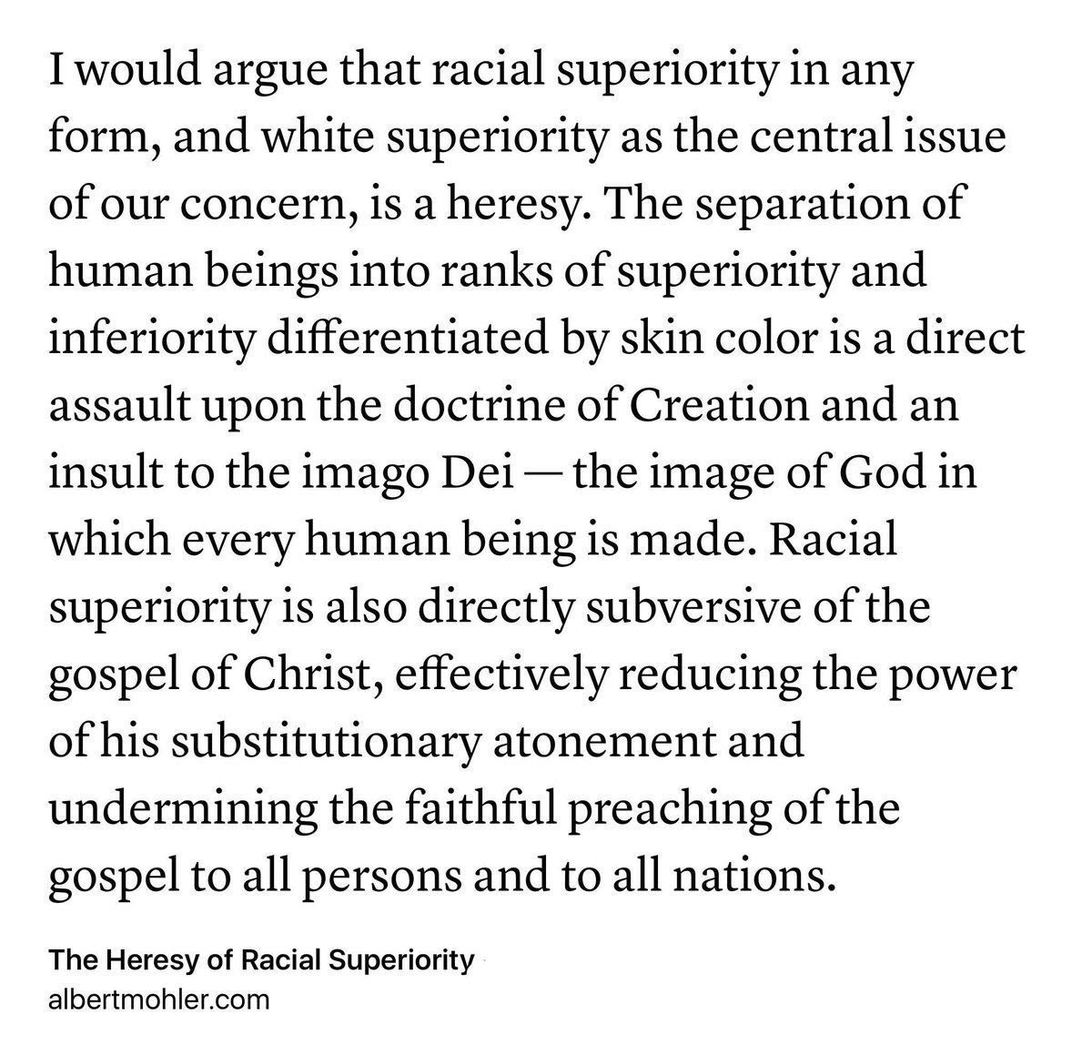 Claims of racial superiority are an assault on God's glory in creation and the gospel of Jesus Christ. https://t.co/cZ66IU7Ujc