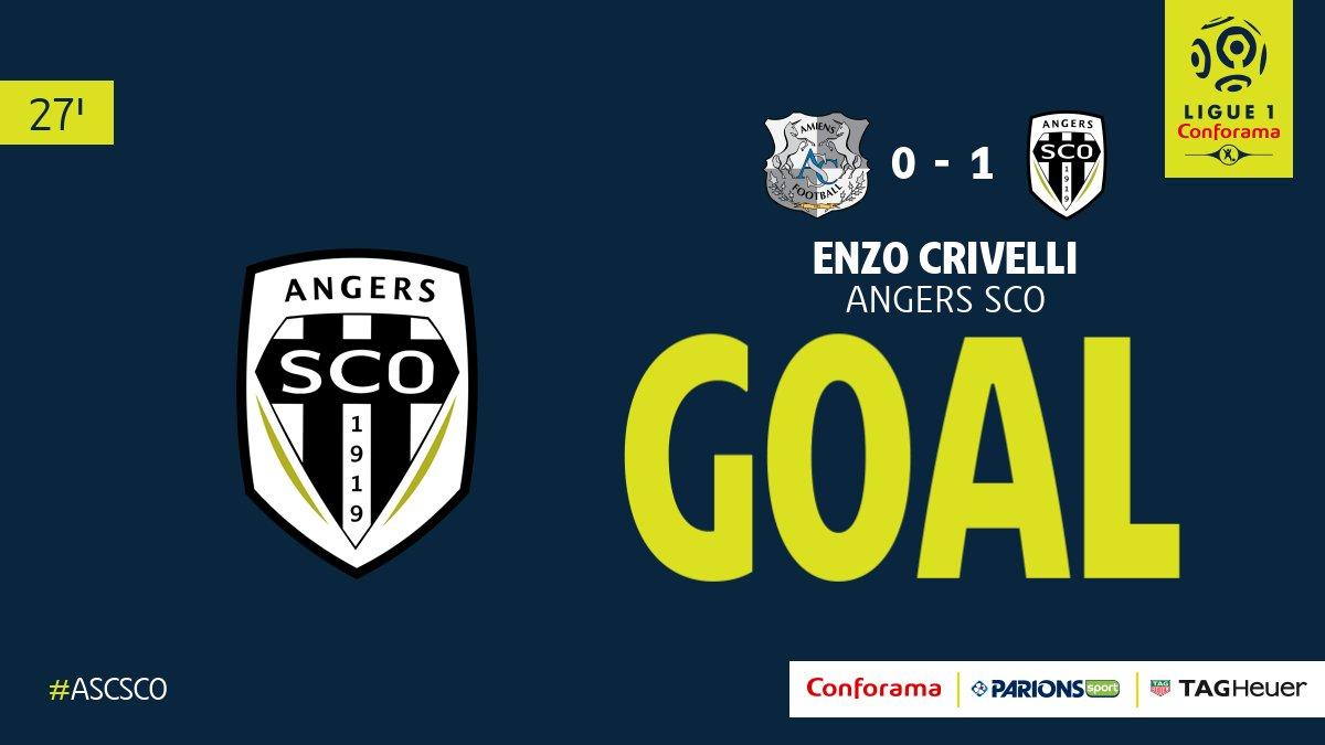 27' - @AmiensSC / @AngersSCO  : Ouverture du score par Enzo Crivelli (0-1) ! #ASCSCO pic.twitter.com/SEeXx0VxFb