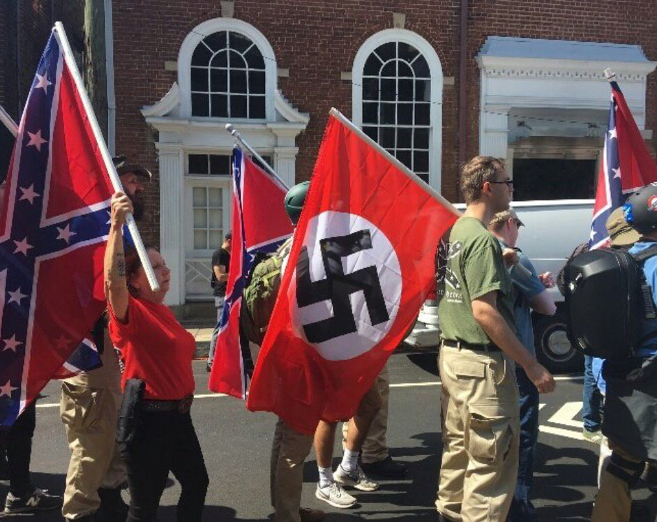 We defeated both these flags and will do so again #AllYouFascistsBoundToLose #Charlottesville https://t.co/M9A5o6gVFO