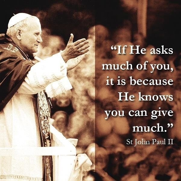 You can&#39;t go wrong giving 100%  #stjohnpaulii #giving #givewithyourwholeheart<br>http://pic.twitter.com/vYAyitwp8i