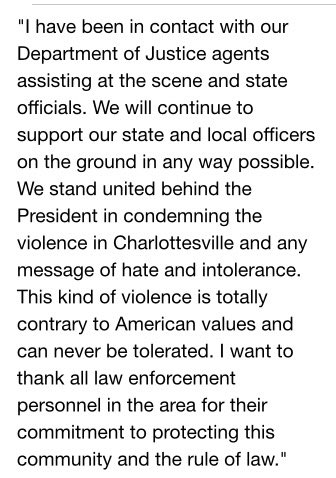 JUST IN: Attorney General Jeff Sessions responds to violence in #Charlottesville https://t.co/7UutHOWi5a