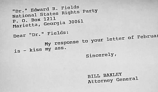 From 1976, the Attorney General of Alabama responding very succinctly to a white supremacist. https://t.co/Sx4n3yoT0J