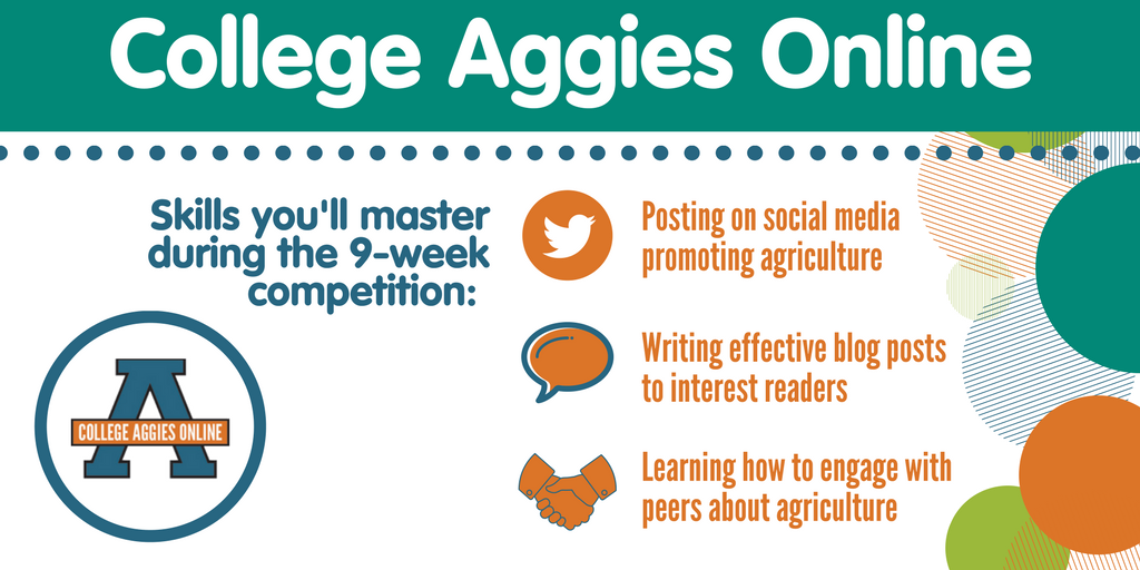 Learn how to become a confident communicator on behalf of the agriculture industry with College Aggies online! #CAO17 <br>http://pic.twitter.com/D2t1MG5CEr
