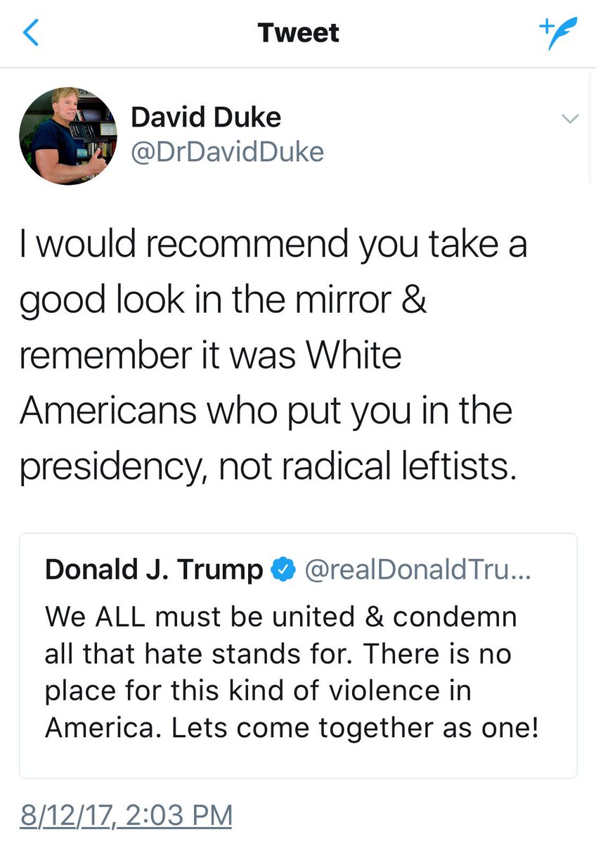 Replying to @ViviVacca: David Duke warned Trump not to speak against white supremacists and Trump obeyed. #Charlottesville