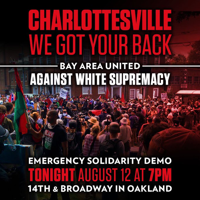 Charlottesville: We Got Your Back – Bay Area United Against White Supremacy @ Oscar Grant Plaza | Oakland | California | United States