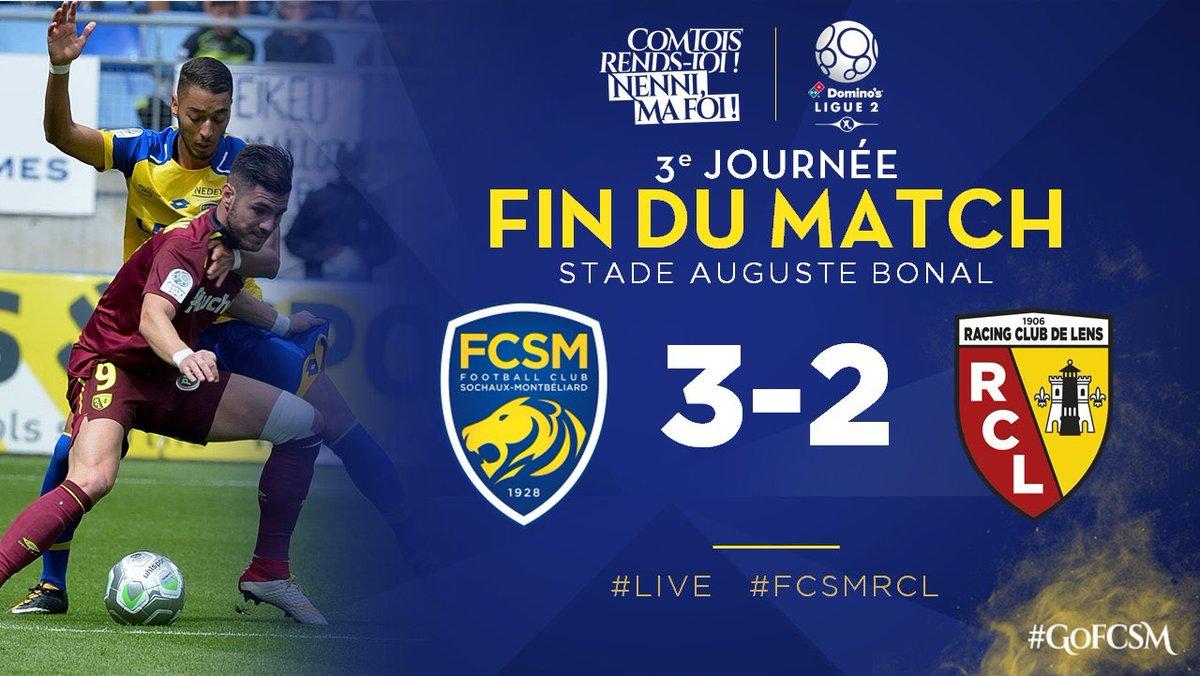 Résultat : Le FCSM s'impose 3-2 face au RC Lens qui enchaîne une troisième défaite consécutive. #FCSMRCL pic.twitter.com/eMPvGffT3W