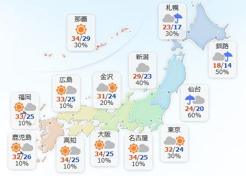 【8月13日(日)】東北や北海道は雨が降ったりやんだりで、雷を伴って雨脚の強まる所も。関東や北陸は日…