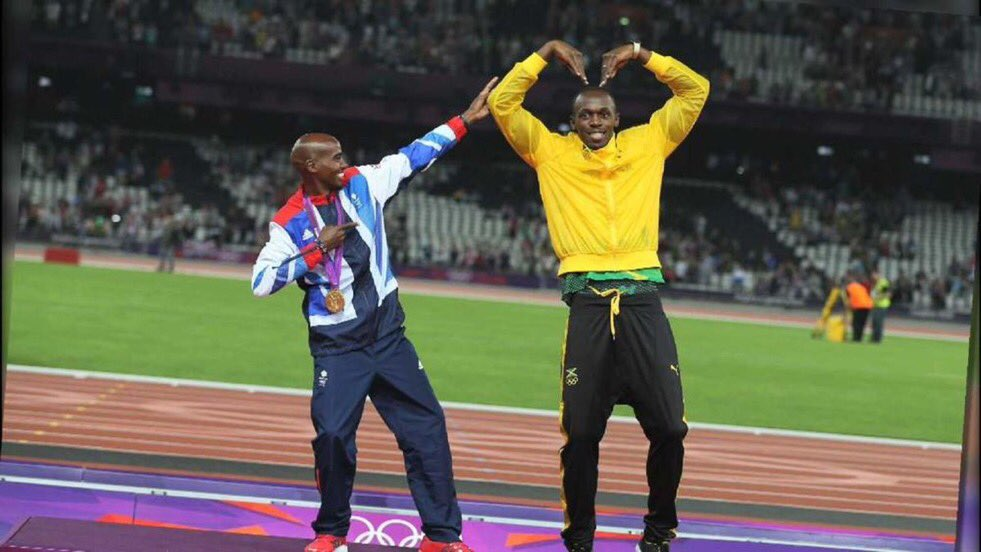 #MoFarah #USAINBOLT Two greats who didn&#39;t win their last race but won the hearts of billions across the world. Inspiring generations. <br>http://pic.twitter.com/8mbVQYgTzS