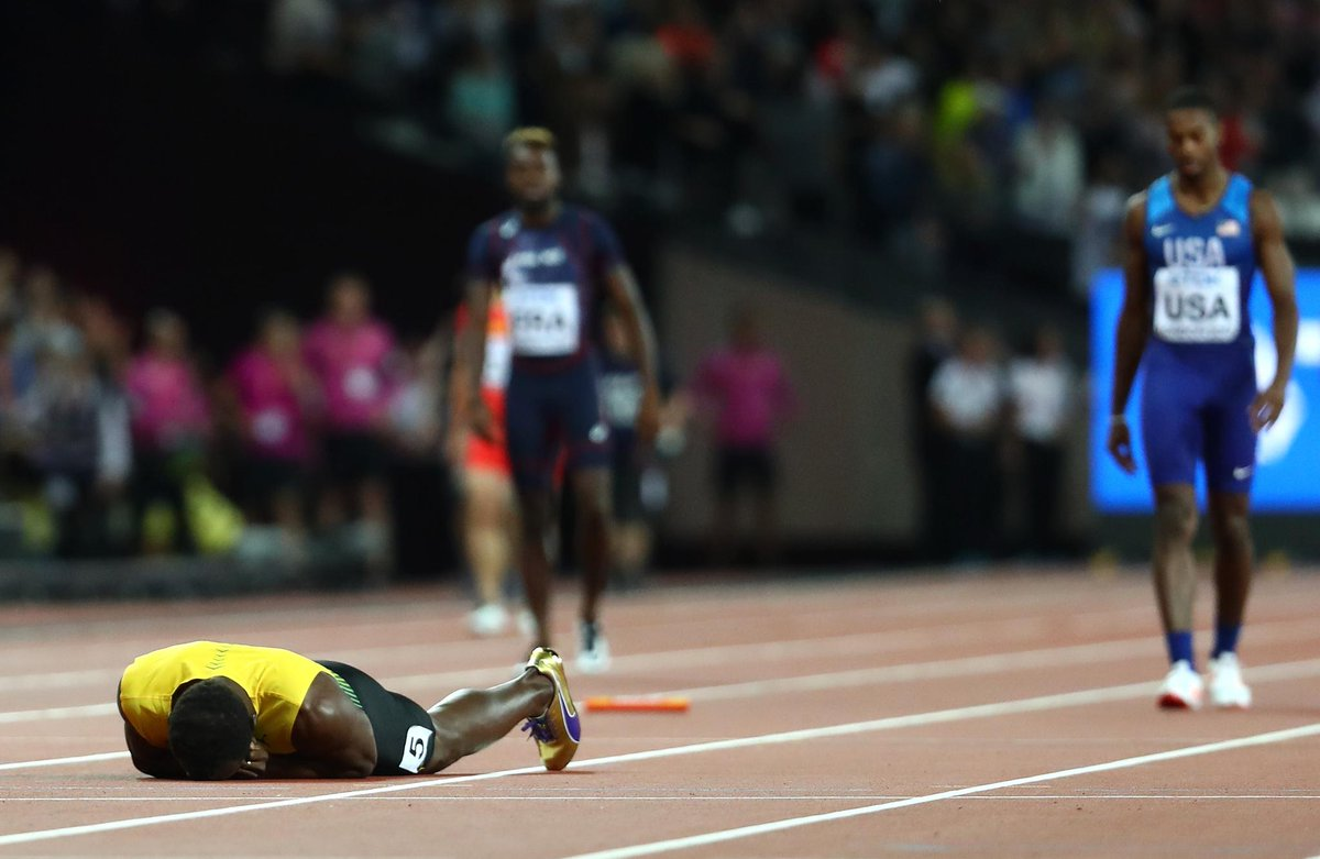 Jamaica's Usain Bolt failed spectacularly to finish the last 4×100 race of his career at the World Championship in London; developed a muscle pull