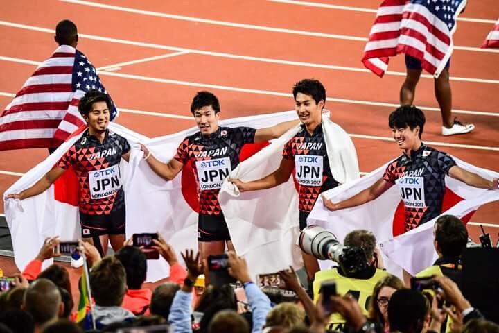 日本代表🇯🇵4×100mリレー 3位銅メダル🥉おめでとう! #世界陸上 #London2017 #4…