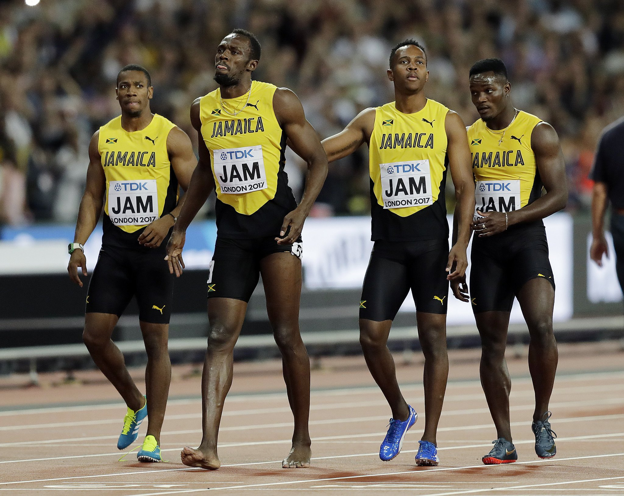 With Team Jamaica behind him, Usain Bolt crosses the finish line in the final race of his career. https://t.co/fvVMHRDW88