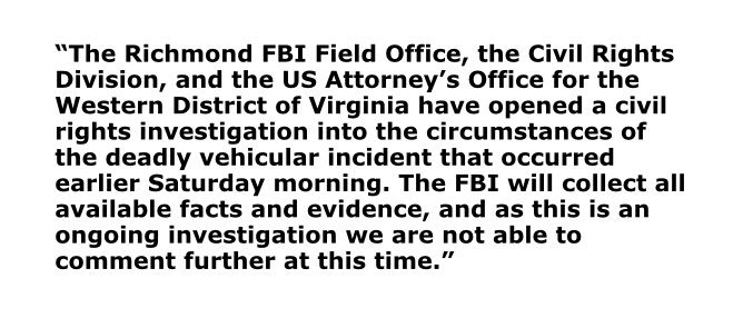 FBI, Justice Dept. say they have opened a civil rights investigation into the fatal Charlottesville car crash today https://t.co/RTynKyVsGf