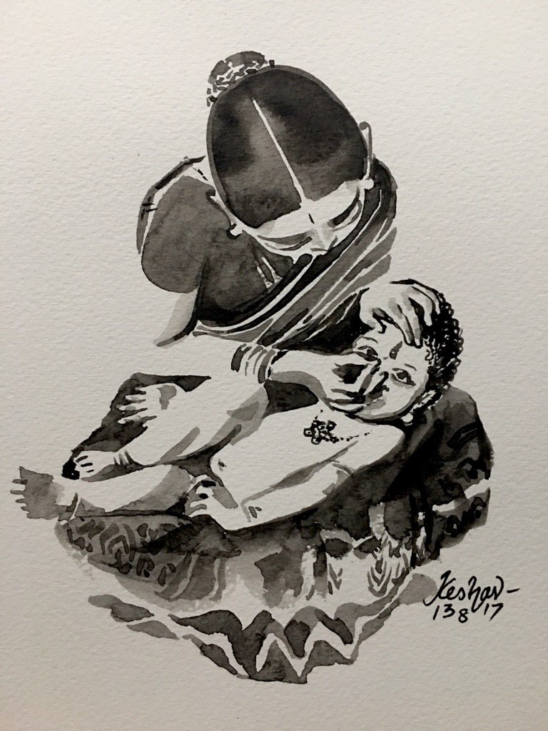 Kasturi Tilakam #watercolour #blackandwhite #krishnafortoday https://t.co/nN2tiyGkVt