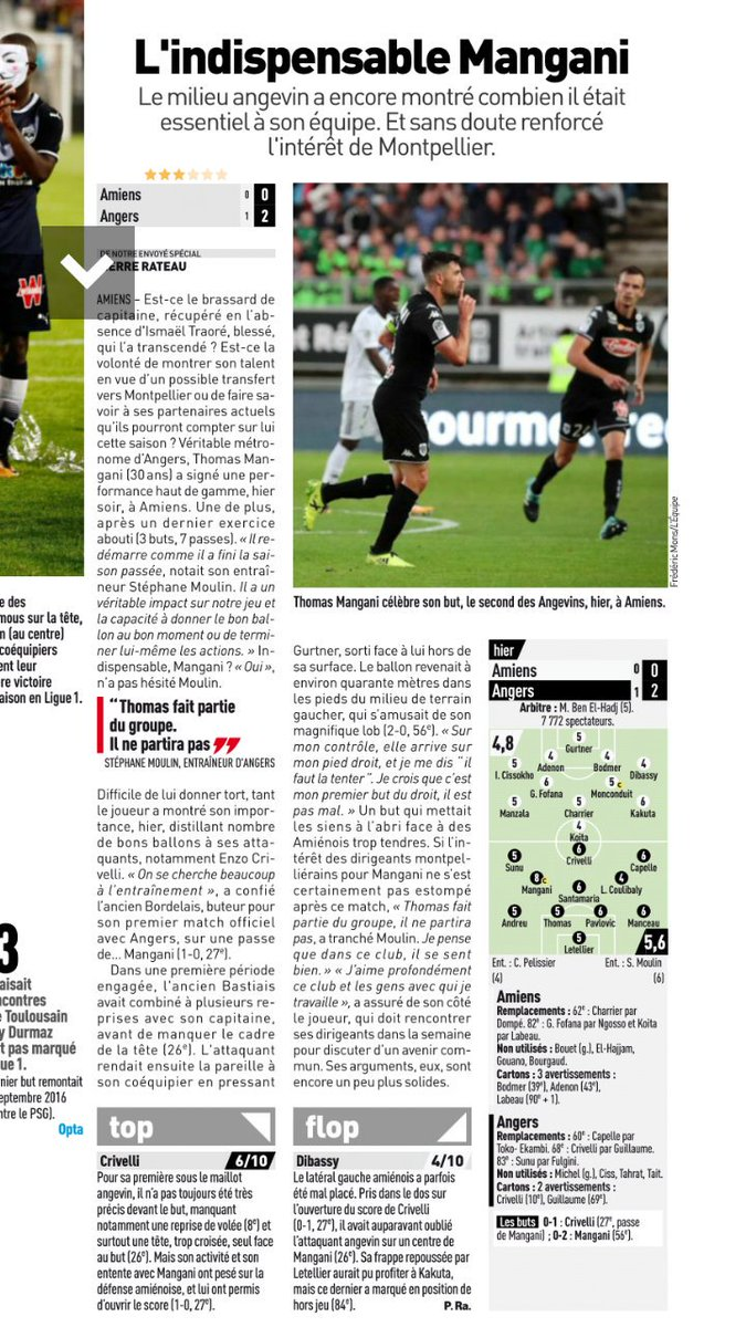 Articles et notes in l'Equipe du jour #ASCSCO pic.twitter.com/qayXzsh46g