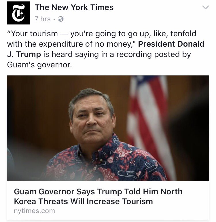 Some excellent banter lurking in the @nytimes comments section  #Guam #NorthKoreaNukes #auspol #trumppol #nzpol #NorthKoreaMissileCrisis<br>http://pic.twitter.com/6B46pG5cHV