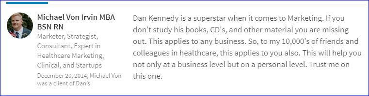 This is an endorsement that I did for Dan Kennedy back in 2014.   #copywriting #marketing #endorsements #testimonials #sales #startups<br>http://pic.twitter.com/9nqw884TwU