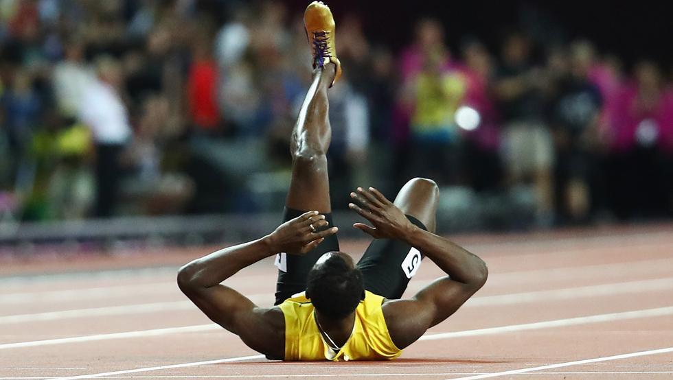 La lesión de Bolt en su despedida en imágenes
