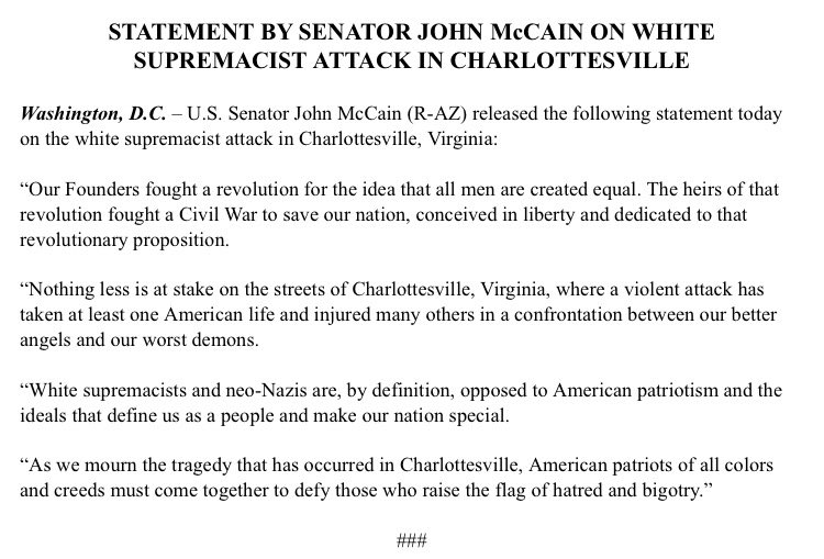 "Statement on today's ""white supremacist attack"" from @SenJohnMcCain https://t.co/jTVVOBj0r2"