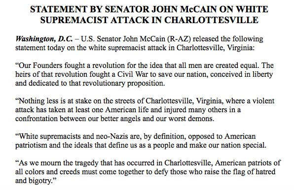 """JUST IN: Sen. John McCain on Charlottesville attack: """"White supremacists and neo-Nazis are, by definition, opposed to American patriotism"""" https://t.co/I8XpsvWq2x"""