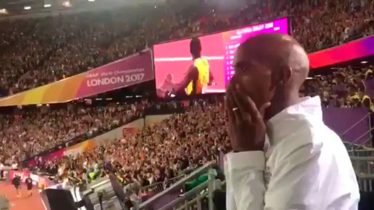 La insólita reacción de Sir Mo Farah cuando se lesionó Usain Bolt