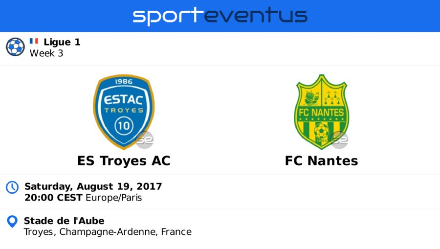 Get the #bestprice on #tickets  #ESTroyesAC  #fcnantes  August 19th 20:00 CEST  #Ligue1   #StadedelAube   http:// sportevent.us/twev200839  &nbsp;  <br>http://pic.twitter.com/VjsMaJK4dN