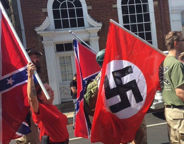 2 flags: 1 raised in treasonous rebellion against U.S.; other raised against Allies to establish a 'Master' race. https://t.co/CfGvremfGA