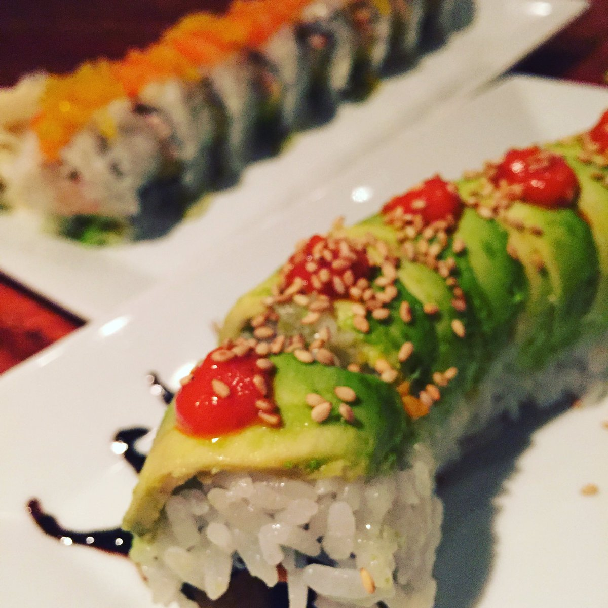 Sweet potato caterpillar #vegetarian roll is one of our most popular items, #Asian pear and avocado! https://t.co/jsL0DXhGdl