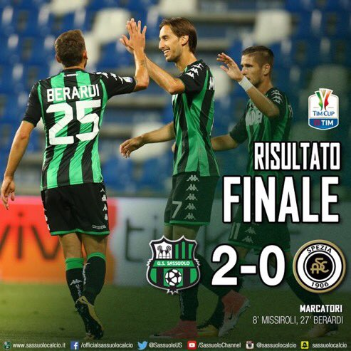 #Sassuolo beat #Spezia in the second round of the Coppa Italia 2-0 with goals from Simone Missirolli and Domenico Berardi<br>http://pic.twitter.com/LsVA4uav8s
