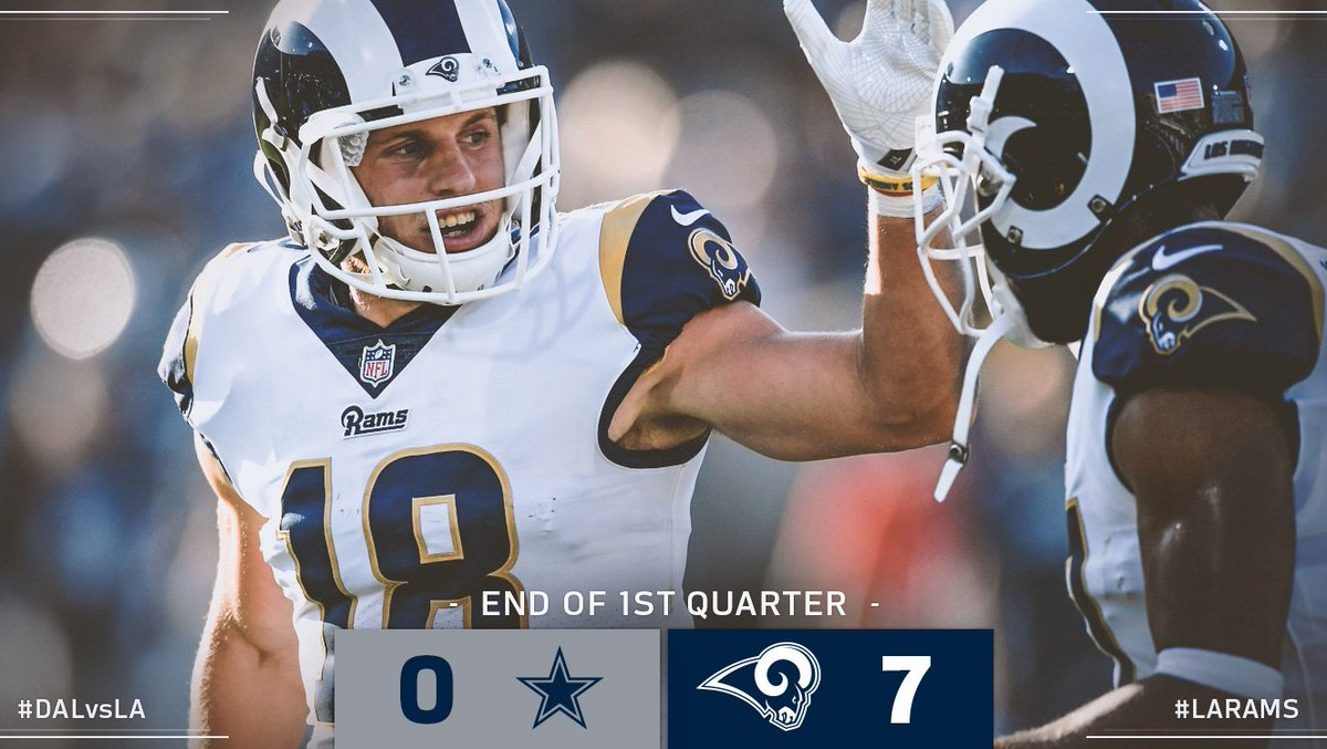 End of 1Q. Rams on top! #DALvsLA https://t.co/4QhmlRvlUL