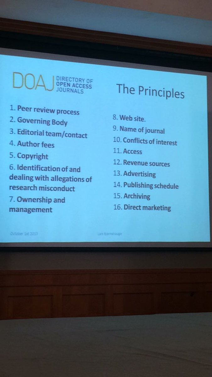 Principles considered for journals to be included in DOAJ @Editage @elbjoern0603 @DOAJplus #ACSE2017 <br>http://pic.twitter.com/fW7nc5uvxu