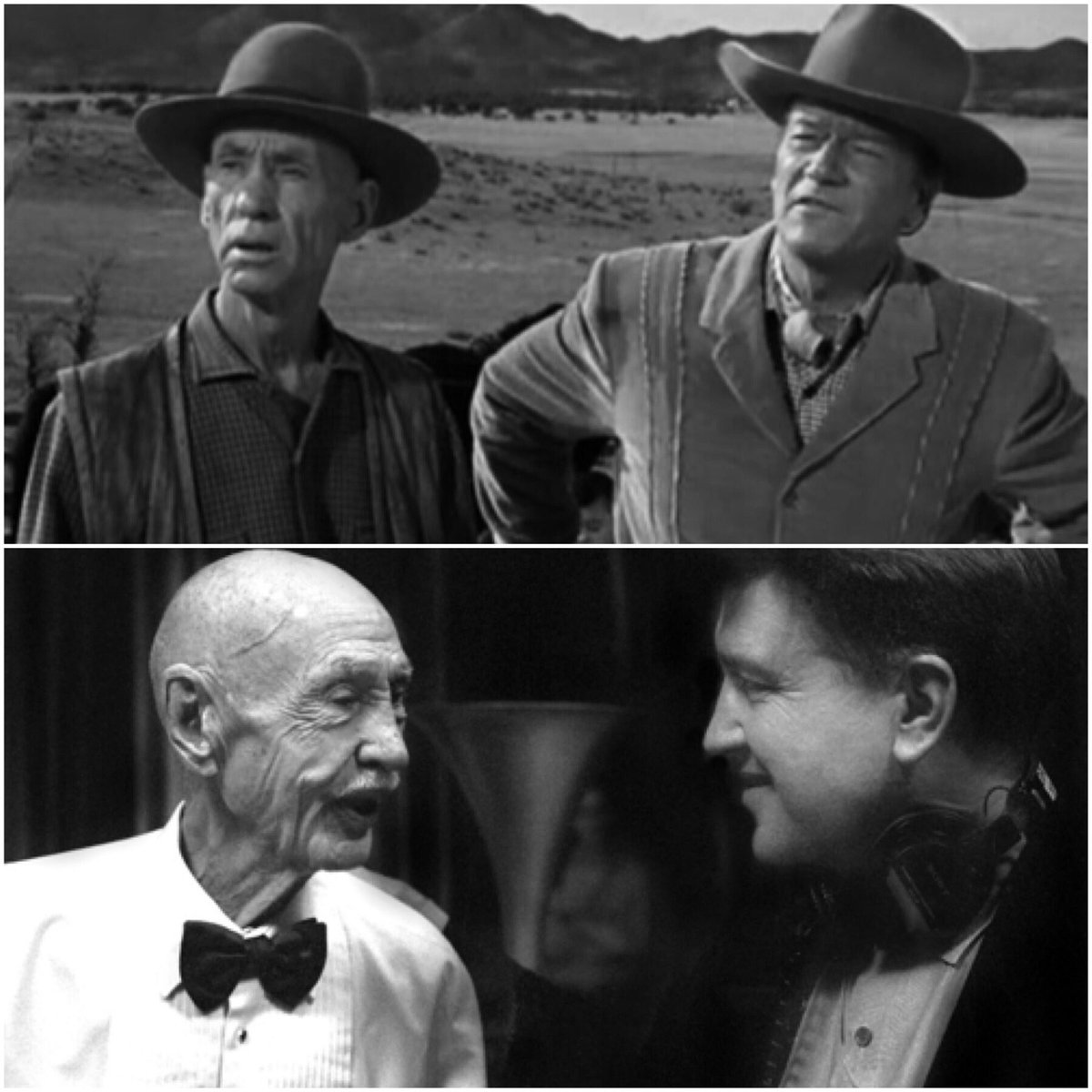 #HankWorden with #DavidLynch on the set of #TwinPeaks  and with #JohnWayne in #McLintock! (1963)<br>http://pic.twitter.com/67Rr9nZAEN