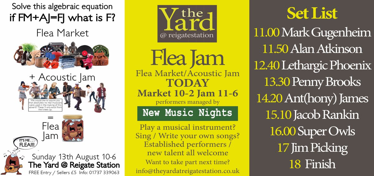 EVENT TODAY Flea Jam (Flea Market 10-2 and Acoustic Jam 11-6) @theyardreigate #events #whatson #reigate #livemusic #gigs #carboot #beer<br>http://pic.twitter.com/s4Cl5pLTNO