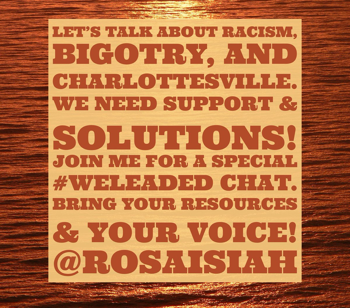 We have much to discuss,PLN. Join me- #WeLeadEd chat on a special day/time: Sun 8/13 7-730PM PST Silence is not an option #Educolor #WomenEd <br>http://pic.twitter.com/k4QcnNNvPL