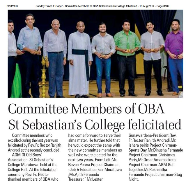 Committee Members of OBA St Sebastian's College, Moratuwa felicitated #SEBSOBA #SEBSOBAMedia #SriLanka #LKR #Moratuwa<br>http://pic.twitter.com/nCDbNa6oGL